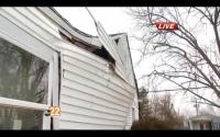Jamestown home at 10 S. Buckles ripped apart by possible meth lab explosion. Photo courtesy WKEF-22 News Video.
